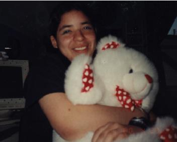 Vanny with Mari's teddy bear